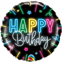 "Birthday Neon Glow Foil Balloon (18"") 1pc"